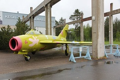 MiG-17 at the Aviation Museum of Central Finland in Jyväskylä. The paintscheme is from 2006 and is based on the idea of Luonetjärvi primary school student Anni Lundahl.