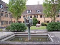 Sculptures and a pond in the Quad