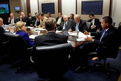 President Barack Obama holding a strategy review on Afghanistan in the Situation Room on September 30, 2009