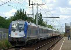 One of the 10 newest electric locomotives Siemens ES64U4 in use by PKP since 2008
