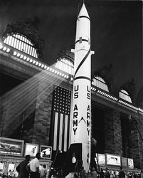 Redstone missile on display in Grand Central Terminal in New York, 7 July 1957