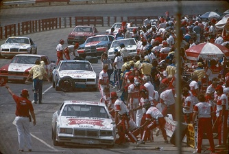 The pit road at Richmond International Raceway in 1984.