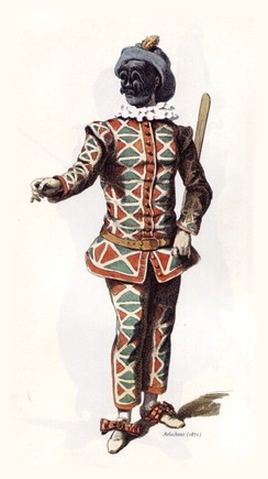 "The classical appearance of the Harlequin stock character in the commedia dell'arte of the 1670s, complete with batte or ""slapstick"", a magic wand used by the character to change the scenery of the play (Maurice Sand, 1860[1])"