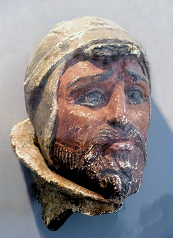Painted terracotta head of a Saka warrior, from Khalchayan, northern Bactria, 1st century BCE.[66][67][68]