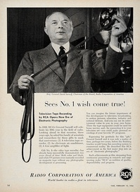 David Sarnoff with the first RCA videotape recorder, 1954.