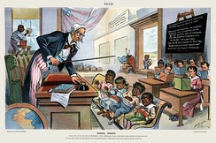 1899 cartoon showing Uncle Sam lecturing four children labeled Philippines, Hawaii, Puerto Rico and Cuba. The caption reads: School Begins. Uncle Sam (to his new class in Civilization)!