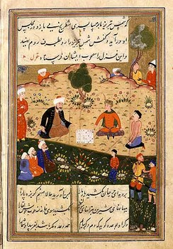 "A Persian miniature depicting Shams Tabrizi in a circa 1503 copy of his disciple Rumi's poem, the ""Diwan-e Shams-e Tabriz-i"". Shams Tabrizi is believed to have been an Ismaili Dai and his relationship with Rumi a symbolic manifestation of the sacred relationship between the guide and the guided."
