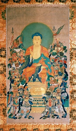 The concept of Hindu Devas migrated to East Asia in the 1st millennium, and was adopted by Japanese Buddhist schools as Jūni-ten. These included Indra (Taishaku-ten), Agni (Ka-ten), Yama (Emma-ten), Vayu (Fu-ten), Brahma (Bon-ten) and others.[19] Above is a painting of the 12 Devas protecting Buddha by Tani Bunchō.