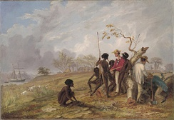 Thomas Baines with Aborigines near the mouth of the Victoria River.