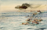 William Lionel Wyllie, The Track of Lusitania. View of Casualties and Survivors in the Water and in Lifeboats, 1915