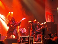 Turisas, seen here performing in 2008, have tackled such issues as the glorification of war through the use of fantasy themed lyrics.[164]