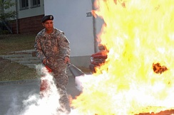 Use of a CO2 fire extinguisher.