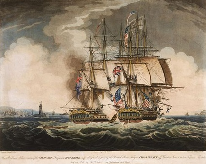 A painter's depiction of the capture of the American frigate USS Chesapeake (right) by the British frigate HMS Shannon (left) during the War of 1812.