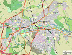 Map of Leamington, Warwick and Whitnash
