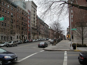 Residential buildings on West 116th Street opposite Columbia University