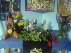 A Wiccan altar decorated to mark the festival of Beltane (30 April/1 May)