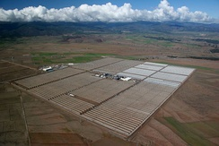 The 150 MW Andasol solar power station is a commercial parabolic trough solar thermal power plant, located in Spain. The Andasol plant uses tanks of molten salt to store solar energy so that it can continue generating electricity for 7.5 hours after the sun has stopped shining.[57]