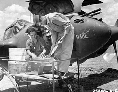 14th Fighter Group P-38 being serviced in North Africa, 1943