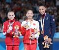 Balance beam victory ceremony (from left to right): Ksenia Klimenko (Silver), Tang Xijing (Gold), Amelie Morgan (Bronze)