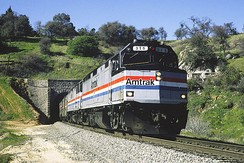 An EMD F40PH leads the California Zephyr in 1995. The F40PH replaced the unreliable SDP40F.