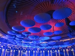 Acoustic diffusing mushrooms hanging from the roof of the Royal Albert Hall.