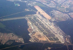 Frankfurt Airport (with the fourth runway under construction in 2010) and the Frankfurter Kreuz (lower right corner)