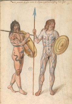 "Sixteenth century perception of the first ""English people"" in times of the war against Julius Caesar, illustrated in the manuscript ""Théâtre de tous les peuples et nations de la terre avec leurs habits et ornemens divers, tant anciens que modernes, diligemment depeints au naturel"". Made by Lucas de Heere in the 2nd half of the 16th century. Preserved in the Ghent University Library.[5]"