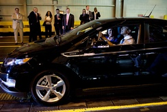 President Barack Obama behind the wheel of a Chevy Volt during his tour of the General Motors Auto Plant in Hamtramck, Michigan.