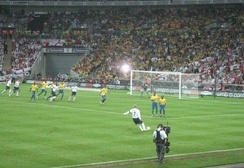 Beckham takes the free kick against Brazil from which John Terry scored.