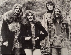 Black Sabbath original lineup in 1973. From left to right: Osbourne, Butler, Iommi, Ward