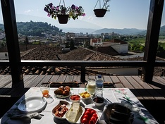 Typical breakfast in Albania.