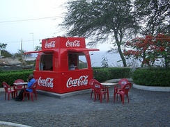 Coca-Cola sales booth on the Cape Verde island of Fogo in 2004