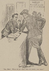 A 1918 cartoon by Cecil Hartt making light of the high incidence of soldiers going absent without leave in the  Australian Imperial Force