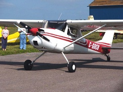 A significant number of Cessna 150s have been converted to taildragger configuration using STC kits. This example is a Cessna 150F.