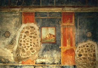 Erotic art on a wall of the House of the Centenary, Pompeii