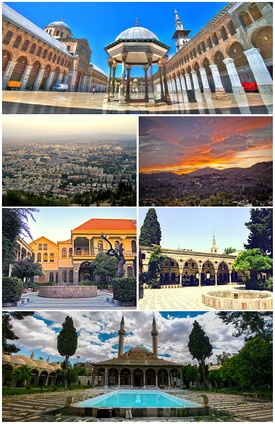 Umayyad Mosque General view of Damascus • Mount Qasioun Maktab Anbar • Azm Palace Tekkiye Mosque