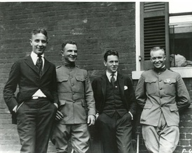 Eisenhower (far right) with three unidentified men in 1919, four years after graduating from West Point