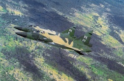 F-102As of the 509th FIS over Vietnam, November 1966. These aircraft wear standard Southeast Asia camouflage (T.O. 1-1-4).