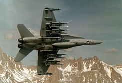 VX-4 F/A-18 with ten AIM-120 AMRAAMs and two AIM-9 Sidewinders.