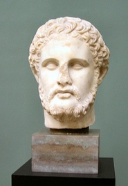 Left, a bust of Philip II of Macedon (r. 359–336 BC) from the Hellenistic period, located at Ny Carlsberg Glyptotek. Right, another bust of Philip II, a 1st-century AD Roman copy of a Hellenistic Greek original, now in the Vatican Museums.
