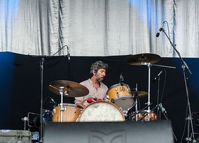 Touring drummer Mike Lowry at the Kosmonaut Festival (2015)
