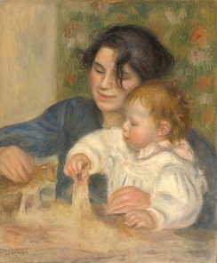 The young Renoir with Gabrielle Renard in a painting by his father Pierre-Auguste Renoir (1895-96)
