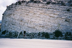 Chalk layers in Cyprus, showing sedimentary layering