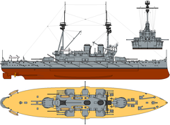 Diagram of HMS Agamemnon (1908), a typical late pre-dreadnought battleship