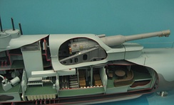 Sectioned model showing mounting on submarine HMS M1