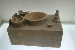A Han dynasty Chinese stove model with cooking pots showing the basic attributes that derived to modern wok stoves.