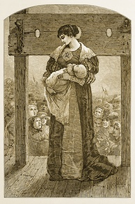 Hester Prynne at the Stocks - an engraved illustration from an 1878 edition of The Scarlet Letter