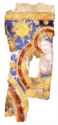 Image of the Buddha as one of the primary prophets on a Manichaean pictorial roll fragment from Chotscho, 10th century.