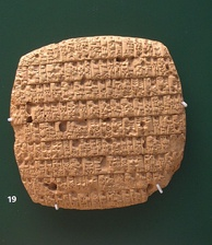 An account of barley rations issued monthly to adults (30 or 40 pints) and children (20 pints) written in cuneiform on clay tablet, written in year 4 of King Urukagina (circa 2350 BCE), from Girsu, Iraq, British Museum, London