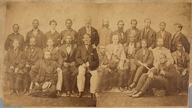 The 24 members of the petit jury impaneled by the United States Circuit Court for Virginia in Richmond for Davis's trial for treason in May 1867. Contemporary composite image from two glass plate negatives.